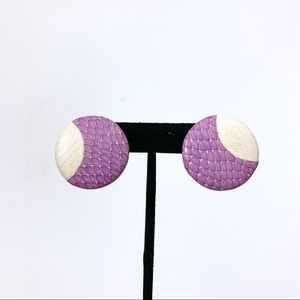 Vintage Purple and White Earringss